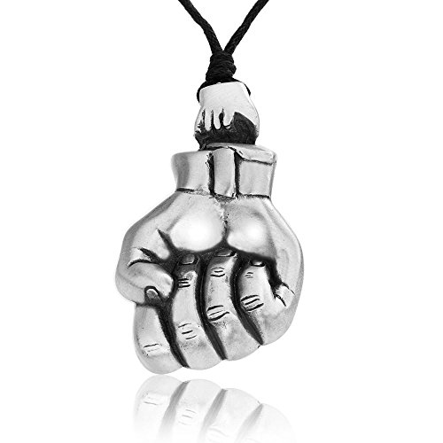 Dan's Jewelers Protest Raised Fist Necklace Pendant + Silver Plated Clasp, Fine Pewter Jewelry (Raised Silver Plated)
