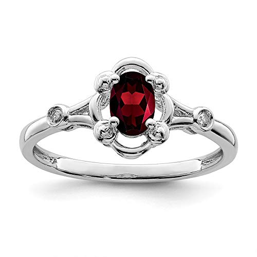 925 Sterling Silver Red Garnet Diamond Band Ring Size 5.00 Set Birthstone January Gemstone Fine Jewelry Gifts For Women For Her