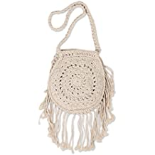 NOVICA Beige Handcrafted Cotton Macrame Fringed Shoulder Bag, 'Natural Kediri'