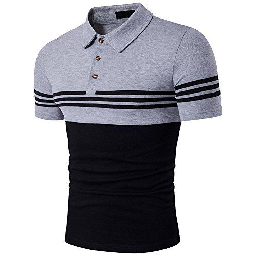 (Cottory Men's Fashion Stripe Contrast Color Short Sleeve Polo T Shirt Grey Black Large)
