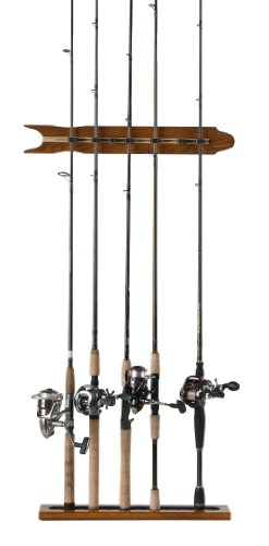 Cheap Organized Fishing Modular Vertical Wall Rack for Fishing Rod Storage, Holds up to 8 Fishing Rods, Oak Finish, SOMWR-008
