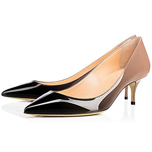 Comfity Pumps Para Mujer, Para Mujer Slip On Kitten Tacones Zapatos De Punta Estrecha Sexy Vestido De Oficina Bombas Negro Gris