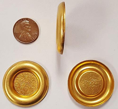 - 6 Vintage Brass Framed Round 18mm. Setting Stamping FINDINGS