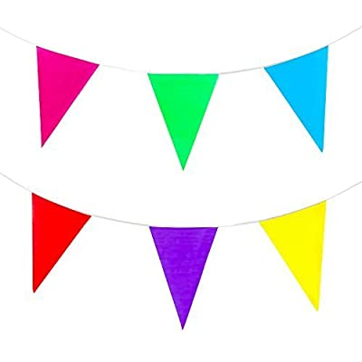 100 Foot Long Multicolored Plastic Pennant Party Rainbow String Curtain Banner for Decorations, Birthdays, Event Supplies, Festivals, Children & Adults: Toys & Games