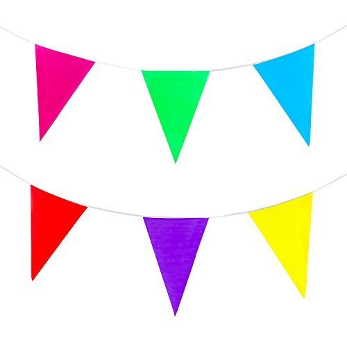 100 Foot Long Multicolored Plastic Pennant Party Rainbow String Curtain Banner for Decorations, Birthdays, Event Supplies, Festivals, Children & Adults ()
