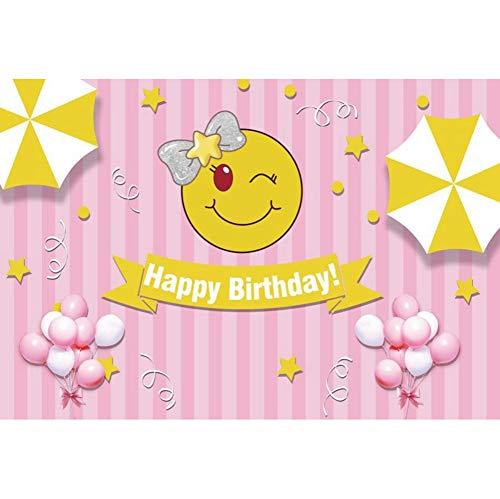 OERJU 2,7x1,8m Feliz cumpleaños Fondo Emoji Sonriente ...