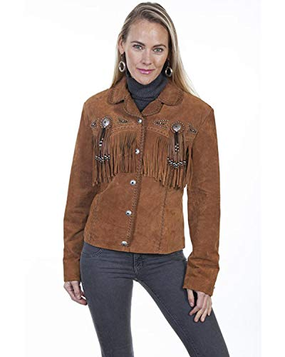 (Scully Women's Suede Leather Fringe Jacket Plus Brown 1X )