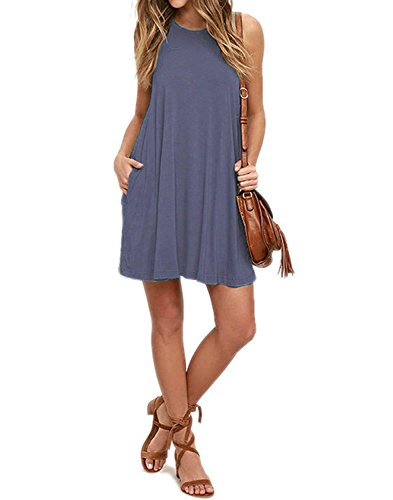MISFAY Purple Pockets Gray Women's Swing Dresses Sleeveless Casual T Shirt rSrvB