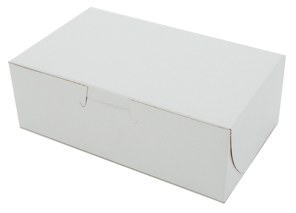 6 1/4'' x 3 3/4'' x 2 1/8'' Clay Coated Paperboard White Non-Window Lock Corner Bakery/Eclair Box by MT Products (Pack of 30)