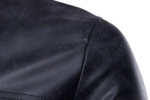 In In Esterno In Pelle In Da Uomo Schwarz Motociclista Motociclista Da Da Motociclista Bottoni Colletto Vera Maniche Giacca Giacca Cerniera Pelle Da Giacca Lunghe Con Motociclista Con Stile Con w4Eqn0f