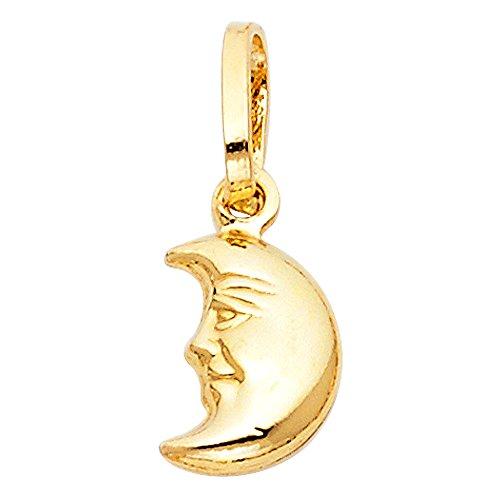 14k Yellow Gold Half Moon Face Charm ()