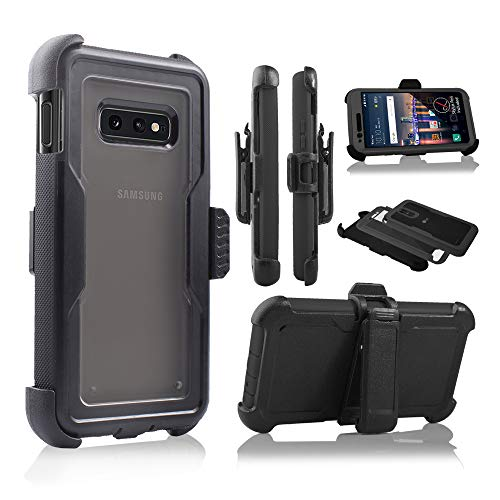 (Design for Galaxy S10e 2019 Case, Full Body Protection Defender Clear Case Built in Screen, Holster, Kickstand Cover for Samsung Galaxy S10E Lite 5.8 inch 2019(Black))