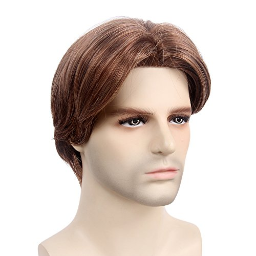 STfantasy Mens Wig Ombre Brown Short Straight Middle Part Synthetic Hair for Male Guy Everyday Daily Cosplay Party w/Cap -