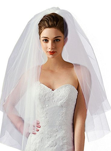 (Women's Simple 2 Tier Cut Edge Bridal Wedding Veil with Comb Fingertip Length 34