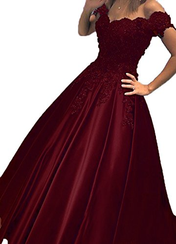 Little Star Women's Burgundy Satin Prom Dresses 2018 Applique Formal Dresses Evening Gowns Off The Shoulder Party Ball Gown