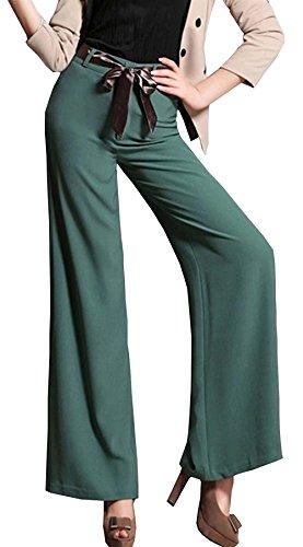 Avec Estivale Baggy Elastische Tissu Confortable Soirée Ceinture Style Couleur Mince Droit Élégante Fille Pantalon Grün De Mode Unie Moyenne Taille Large Long Hipster ztpCHyUwqx