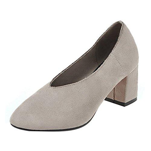 Chers Temps V-cou Talons Chunky Bout Pointu Chaussures Pour Les Femmes Gris
