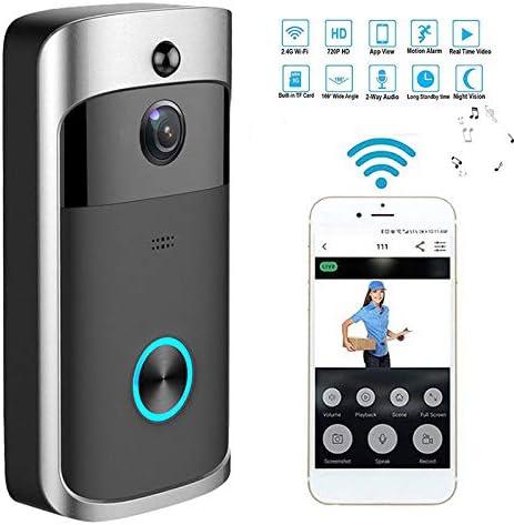 Wireless WiFi DoorBell Smart Video Phone Door Visual Ring Intercom C/ámara Segura Gray
