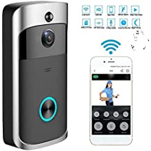 ETbotu Wireless WiFi DoorBell Smart Video Phone Door Visual Ring Intercom Secure Camera Gray