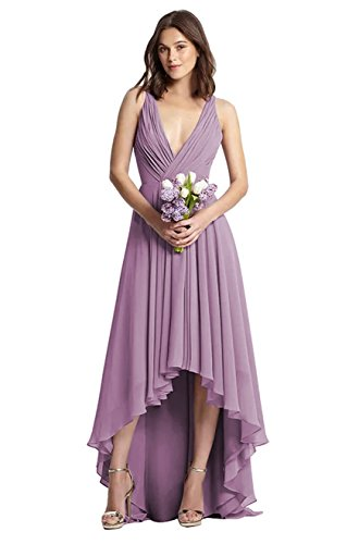 YORFORMALS Women's V-Neck High Low Chiffon Bridesmaid Dress Long Formal Evening Party Gown Ruched Bodice Size 6 Mauve