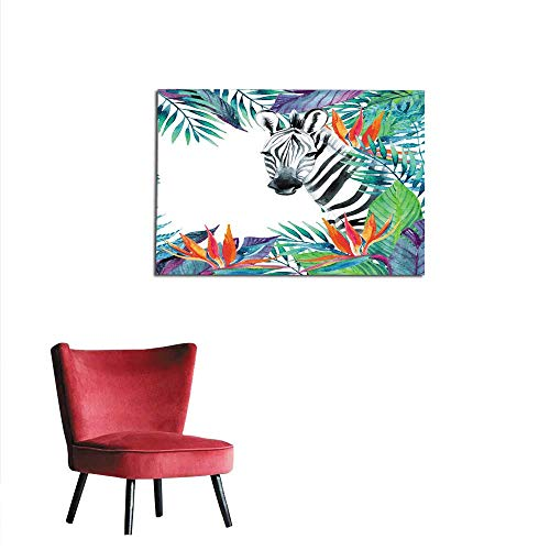 homehot Painting Post Tropical Jungle Card Floral Design with Zebra on White Background Mural 28
