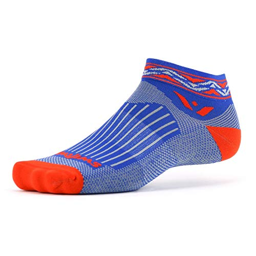 Cushion One - Swiftwick- VISION ONE APEX | Socks Built for Running and Cycling | Creative Designs, Cushioned Ankle Socks | Orange, Large