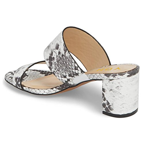 Ydn Women Block Muli A Tacco Basso Slip On Open Toe Sandali Con Zeppa Slipper Shoes Stampa Serpente