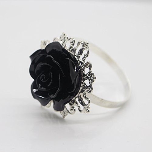 AngHui ShiPin 10pcs Black Rose Decorative Silver Napkin Ring Serviette Holder for Wedding Party Dinner Table Decor Many Color Available for Christmas Table (Rings Napkin Art Table)