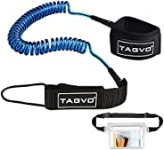 Tagvo Sup Leash Coiled 10' Super Strong 7mm Cord with Waterproof Waist Pouch, Comfortable Padded Neoprene