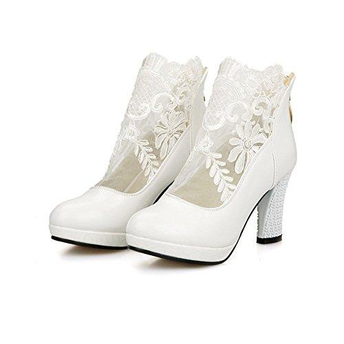 Lace 1TO9 pumps Sconosciuto zipper poliuretano Dress White shoes Girls Ft6tqxzwO