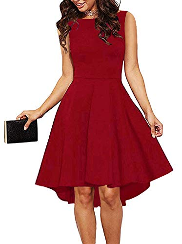 ReoRia Women Sleeveless Boat Neck High Low Cocktail Skater Swing Dress Red X-Large ()