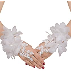 Floral Lace Short Wrist Gloves Applique Wedding Gloves Beaded Fingerless Bridal Gloves Party Costume White