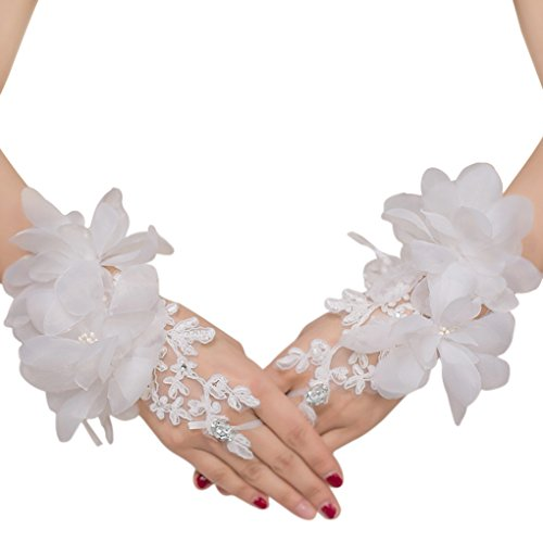 Floral Lace Gloves - Floral Lace Short Wrist Gloves Applique Wedding Gloves Beaded Fingerless Bridal Gloves Party Costume White