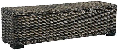 UnfadeMemory Aufbewahrungsbox 120 cm Sitzhocker Bank Truhe mit Großem Staufach zur Aufbewahrung Kubu-Rattan und Mango-Massivholz 120 x 35 x 35 cm (Schwarz)