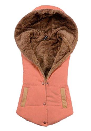 Gilet Donne Accogliente Giù Arancione Tasche Solido Calde Delle Cardigan Parka Angelspace Incappucciati FHxIY0qHw