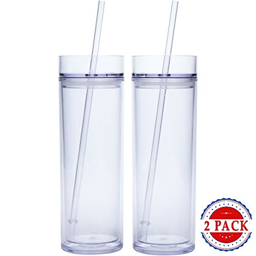 - 2 Pack - Insulated Clear Acrylic Tumblers with Lid and Reusable Straw, 16oz Travel Cups, Skinny Double Wall