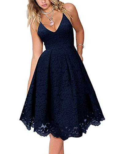 MEROKEETY Women's Lace Floral V Neck Spaghetti Straps Backless Cocktail A-Line Dress for Party Navy