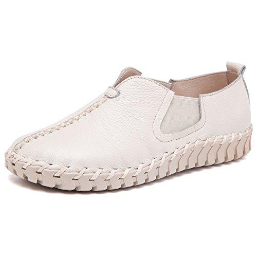 Sneaker Shenn Donna Bella Bianca Casuale Piana Su Scivolare Pelle Scarpe q0q4v7r