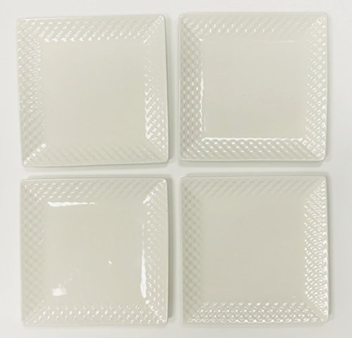 Ultra-Fine Durable Porcelain Basket Weave Pattern Square Plates | Set of 4 Lunch | Salad | Dessert Plates | 8 inches