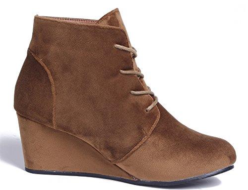 AgeeMi Shoes Damen Rund Zehe Nubuk Schnürsenkel Keilabsatz Stiefeletten Braun