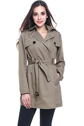 Belted Mid Length Coat - BGSD Women's Gabby Mid Length Trench Coat - Taupe M