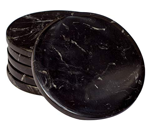 CraftsOfEgypt Set of 6 - Black Marble Stone Coasters - Polished Coasters - 3.5 Inches (9 cm) in Diameter - Protection from Drink Rings