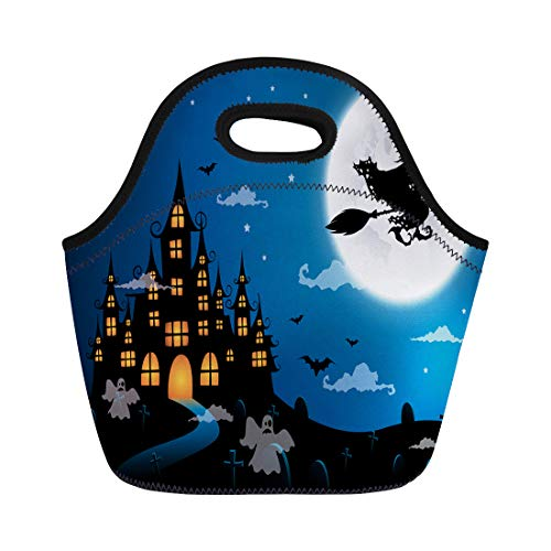 Tinmun Lunch Tote Bag Black Haunted House and Full Moon Witch Ghost Halloween Reusable Neoprene Bags Insulated Thermal Picnic Handbag for Women Men -