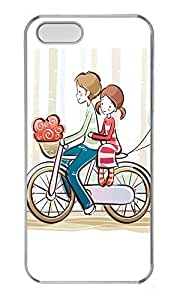 iPhone 5 5S Case Cycling Couple Illustrator PC Custom iPhone 5 5S Case Cover Transparent