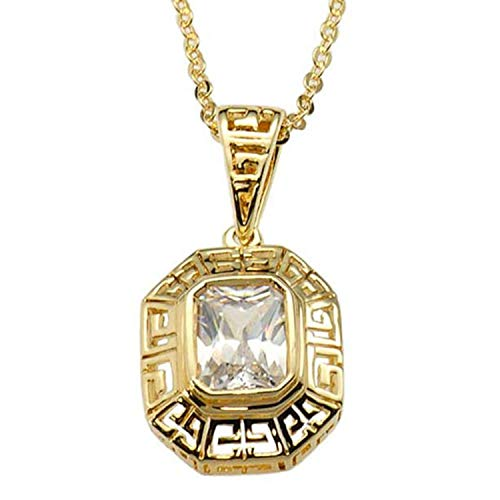 FlameReflection Gold Plated Brass Emerald Cut Cubic Zirconia Greek Key Filigree Pendant Necklace 18 Inches Chain SPJ