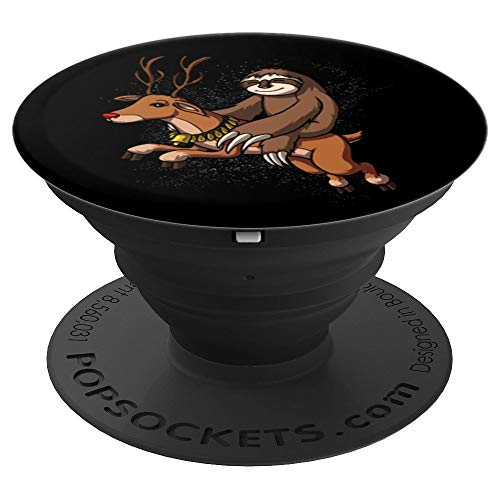 (Lazy Sloth Riding Reindeer Christmas Funny - PopSockets Grip and Stand for Phones and Tablets)