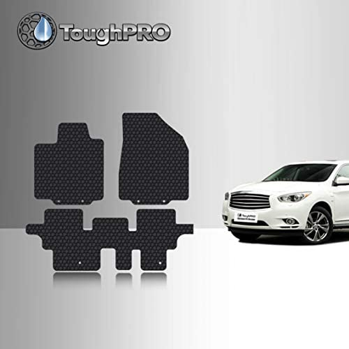 TOUGHPRO Floor Mat Accessories Set (Front Row + 2nd Row) Compatible with Infiniti QX60 – All Weather – Heavy Duty – (Made in USA) – Black Rubber – 2014, 2015, 2016, 2017, 2018, 2019, 2020, 2021