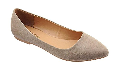 Bella Marie BellaMarie Angie-28 Women's Classic Pointy Toe Ballet Flat Shoes ( B(M) US, Taupe) (8)