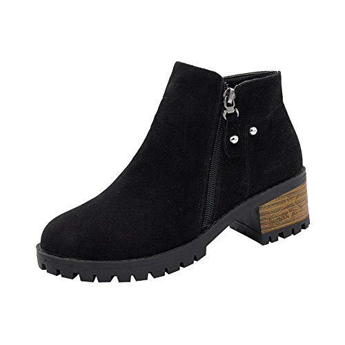 BaZhaHei Women Round Toe Boots Rivets Shoes Martain Boots Suede Ankle Boots High Heeled Zipper Boot Retro Wedges Solid Women Shoes Simple Boots Warm Shoes Size 2.5-6.5 Black