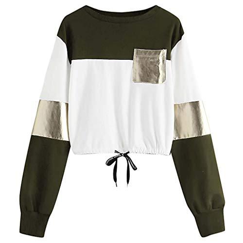 Fashion Women Casual O-Neck Long Sleeve Bandage Patchwork Pocket Sweatshirt -
